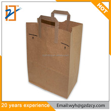 Promotional Brown Kraft Paper Fancy Design Packaging Reusable Grocery Paper Bag with Flat Handle