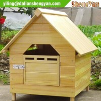 Natural solid wood handmade dog kennel