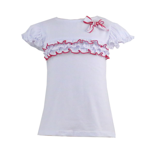 Latest t shirts for girls cap sleeve ruffle cotton children clothing fashion wholesale t shirts