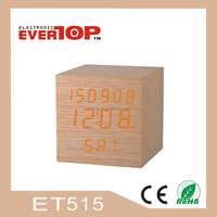 2016 NEW WOODEN LED SQUARE CLOCK DIGITAL DESK CLOCK ET515