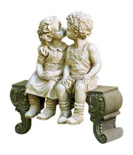 Kissing Boy and Girl on Bench Garden Yard Statue