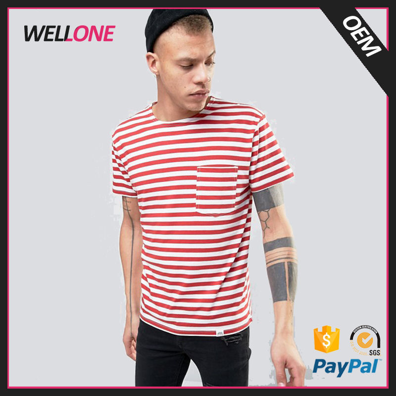 Guangzhou high quality factory OEM service red white stripe design custom cotton two color t shirt