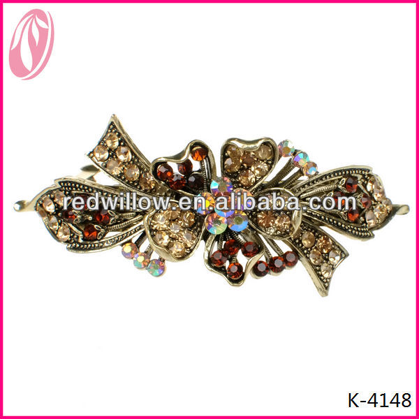 Asian Hair Ornaments Puff Hair Clip With Black Diamond