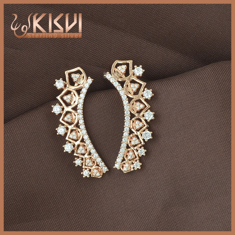 Rose gold stering silver earring white zircon earrings kisvi silver jewelry factory with low price