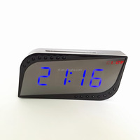2015 new multi-function P2P 720P HD wireless table alarm clock wifi ir night vision wifi clock camera with motion detection