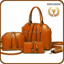 Factory directly 4 pieces bag set no moq orange women sling bag