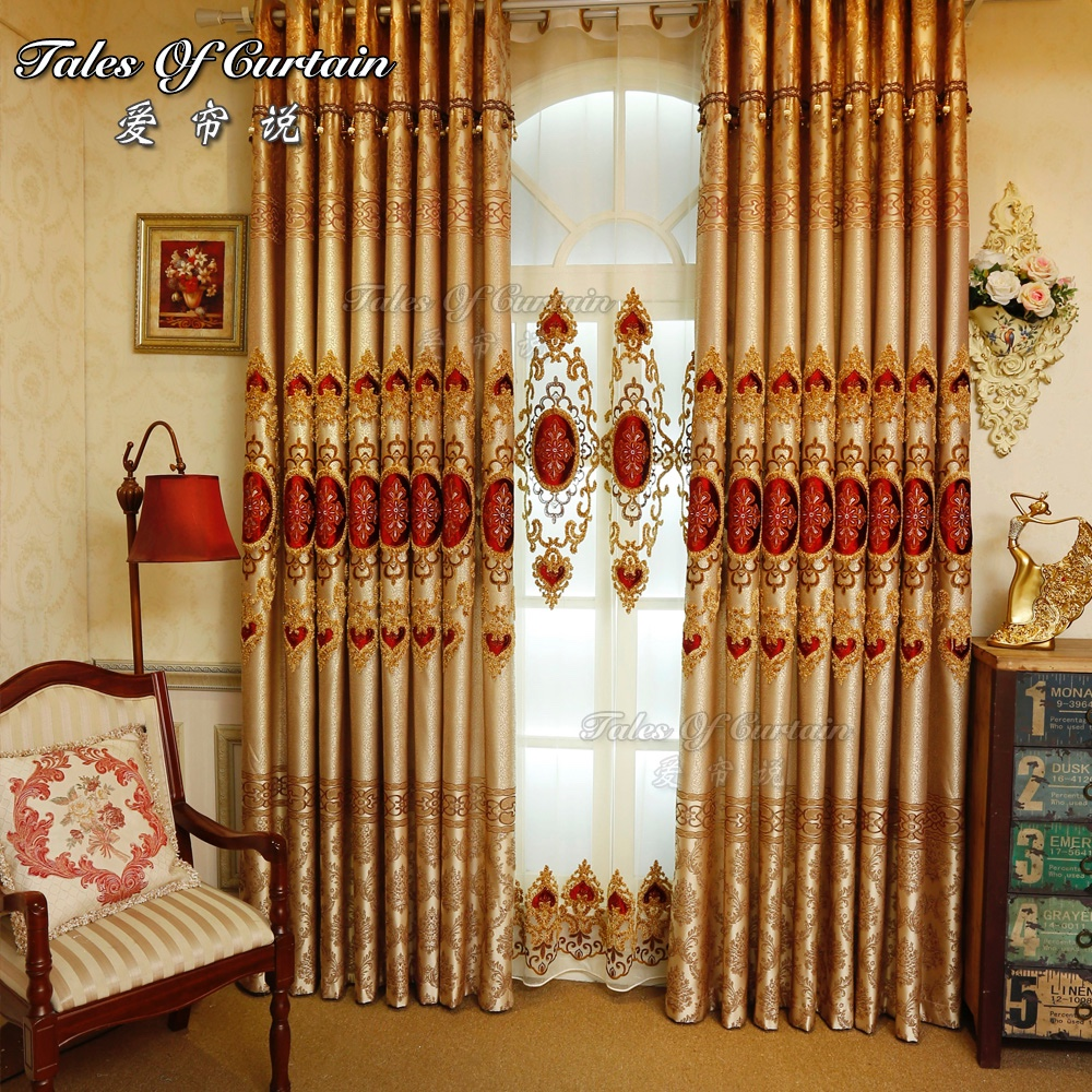 ready made high quality embroidery jacquard curtain fabric