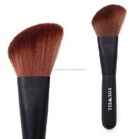 Black wood handle round synthetic hair angled powder kabuki brush for makeup