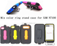 mix color pc+silicone ring stand phone case for iphone5