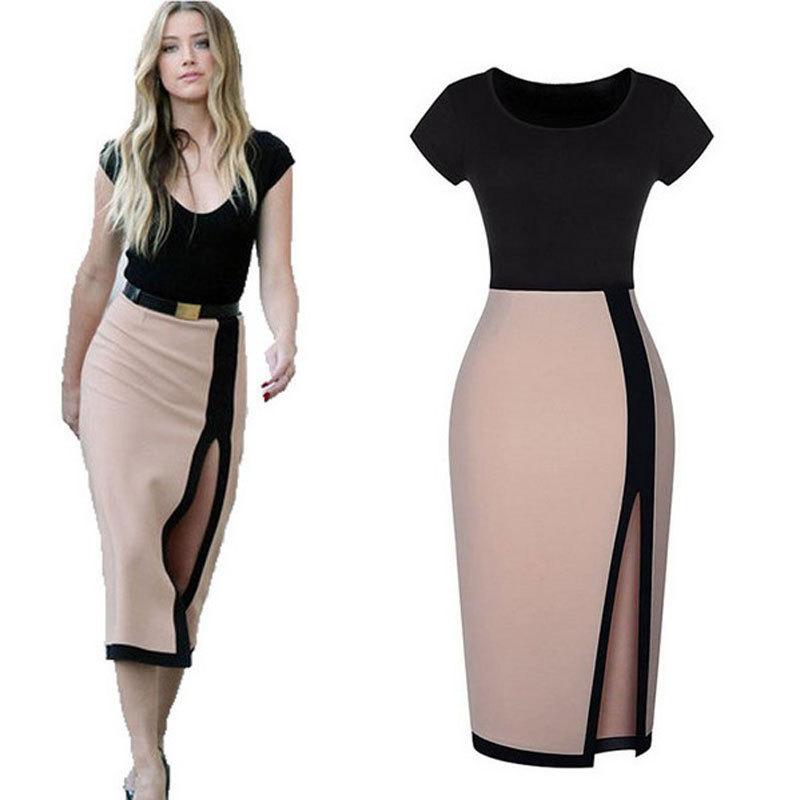 3f0f26023fa Get Quotations · Women High Slit Dress 2015 Bandage Dresses Black Patchwork  Elegant OL Work Dress Bodycon Pencil Dresses