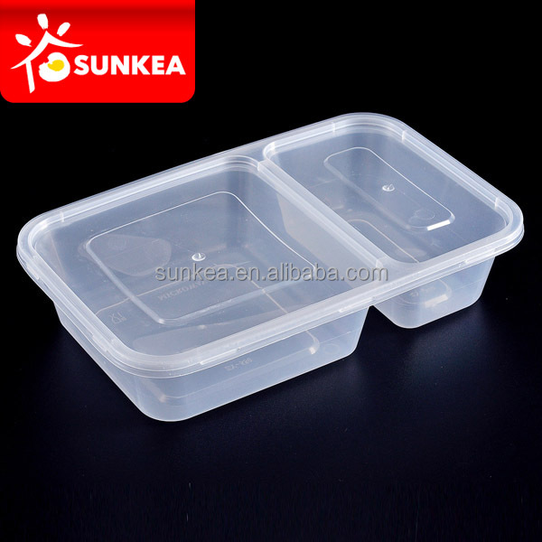 Square disposable plastic 2 compartment food container