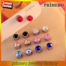 No Hole Round Crystal Magnetic Magnet Studs Earrings For Women Men