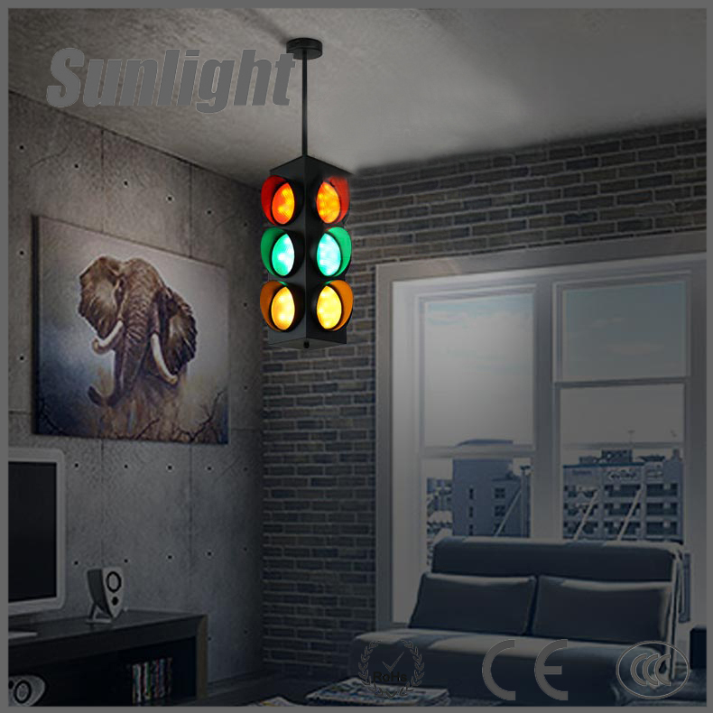 2016 industrial iron led pendant lighting red yellow green downlights modern traffic light pendant light
