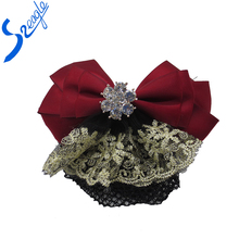 Bling Cover Net Snood Red Bowknot Barrette Hair Clip