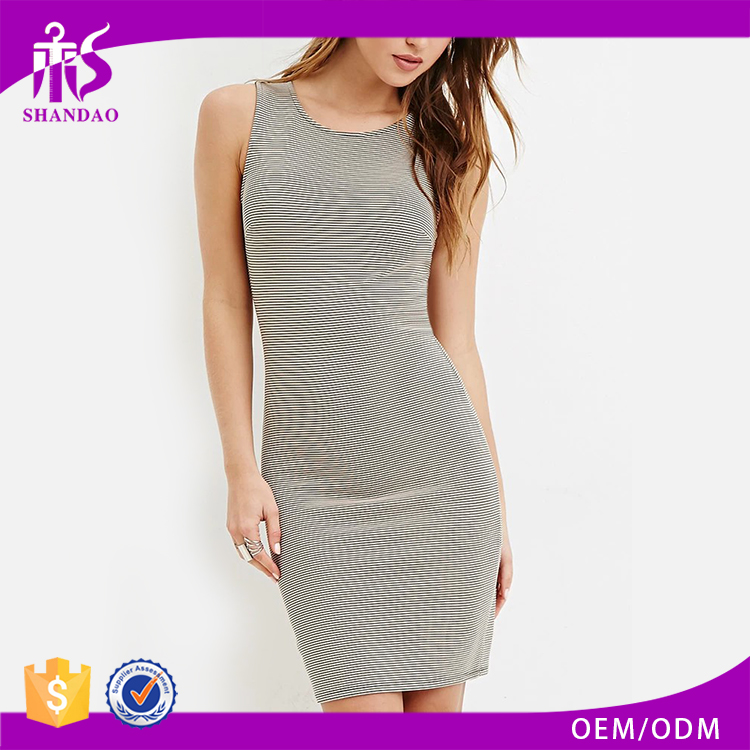 2017 Shandao Latest Model Stripe Bodycon Grey Sleeveless Fitted Fashion Wholesale High Quality Dresses For Women