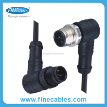 M12 mold eclectrical plastic cable and right angle ip67, ip69 furniture connector cam lock