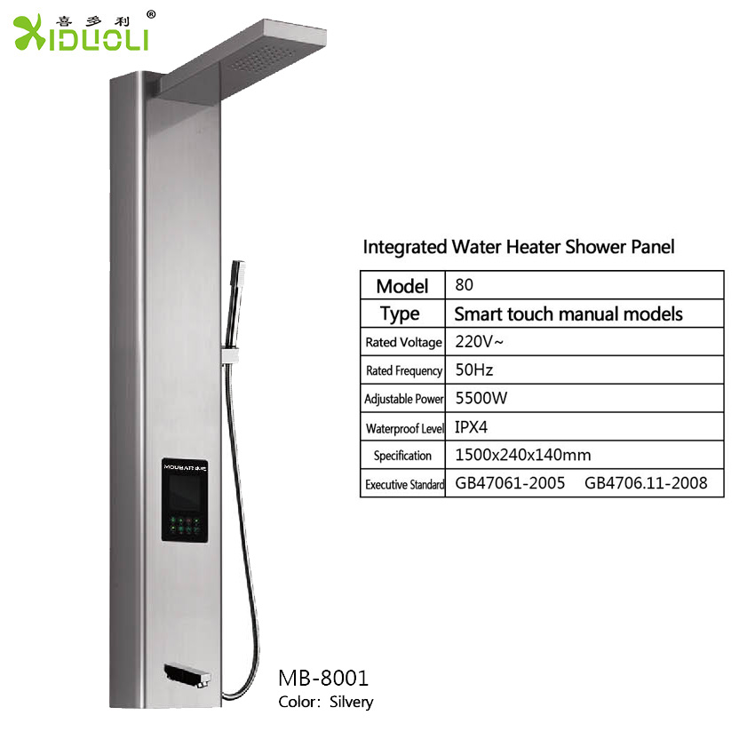 High Quality Indoor Bathroom Black Multifunction Stainless Steel Rainfall Shower Panel Faucet