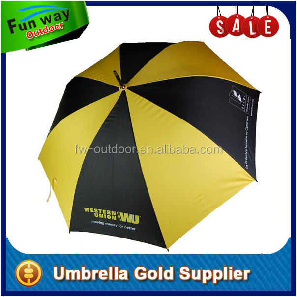 Durable Fiberglass Frame Mens Golf Umbrella Yellow / Black