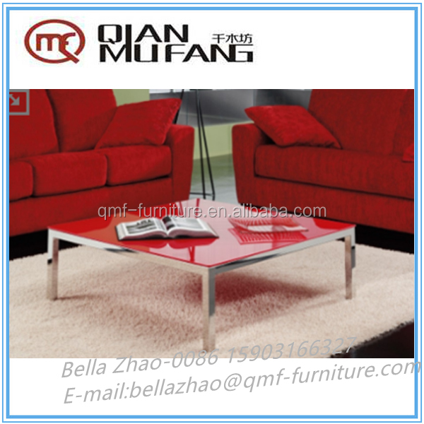 stainless steel frame glass top high quality square coffee table