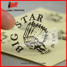 Custom professional design clear bronzing security beverage permanent adhesive sticker label