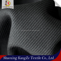 kangze textile low price cuff collar fabic polyester high stretch knit 2*2 flat back rib fabric