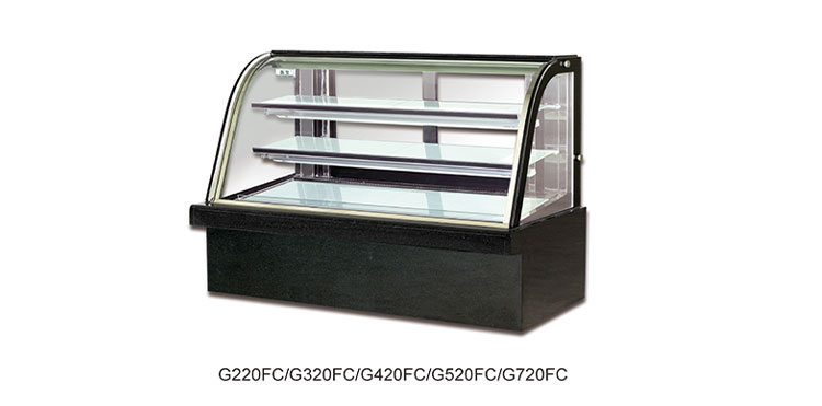 Good quality 2 Shelves Curved Glass Cake Showcase Marble Base