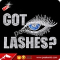 Beautiful got lashes rhinestone transfers wholesale in china for t-shirt
