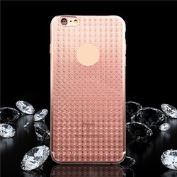 New coming diamond pattern tpu back cover soft case for iphone 6