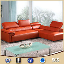 2017 sofa set designs and prices L shape geuine leather sofa for sale