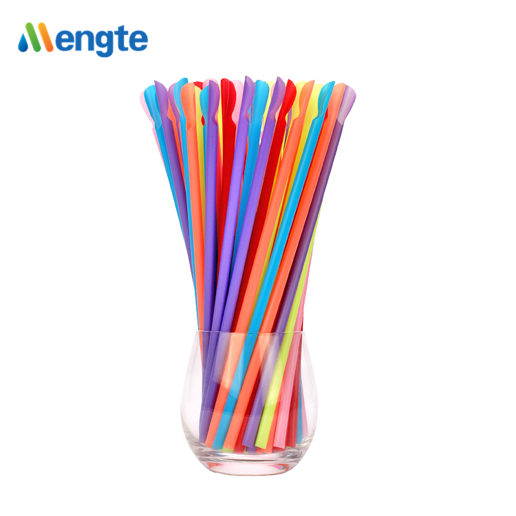 2018 Newest design colorful spoon drinking straws with spoon