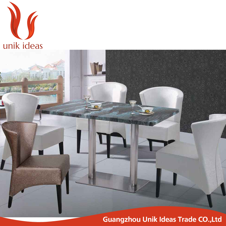 dining table and 4 chairs, japanese restaurant furniture, marble dining table with stainless leg