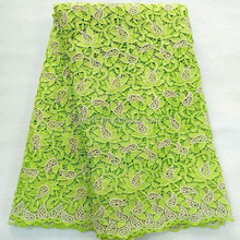 Elegant design lemon green lace fabric guipure / retail fashionable indian embroidery lace / stone lace for wedding invitations