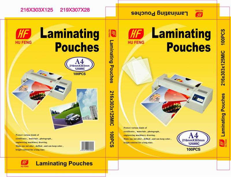 Laminating pouces film Set DIN A4 A5 A6 95X60