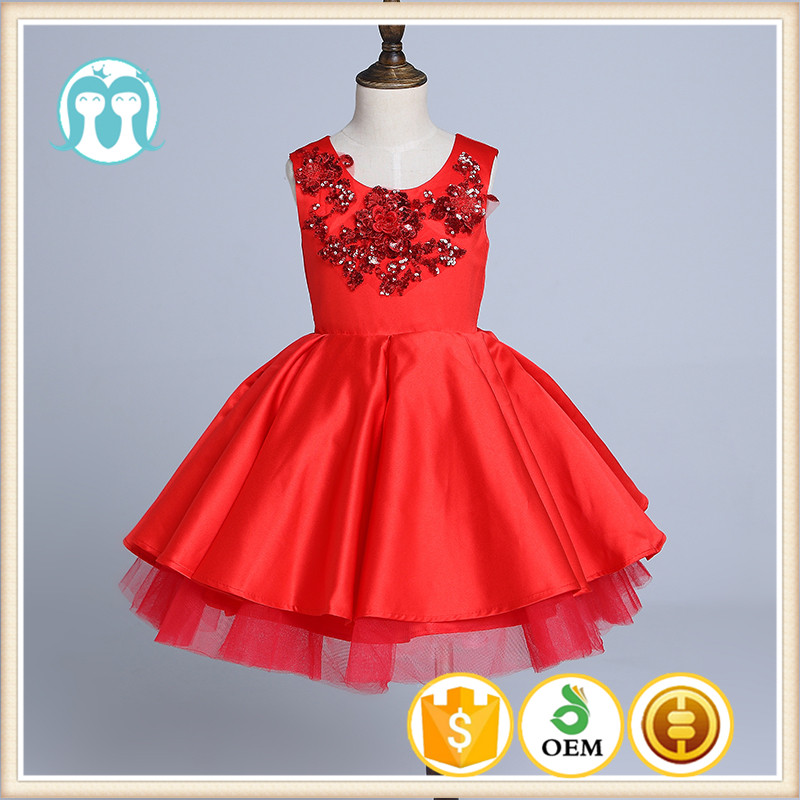 red embroidery party XMas gowns girls dress dancing high class chinese red dresses fluffy new year children birthday dress
