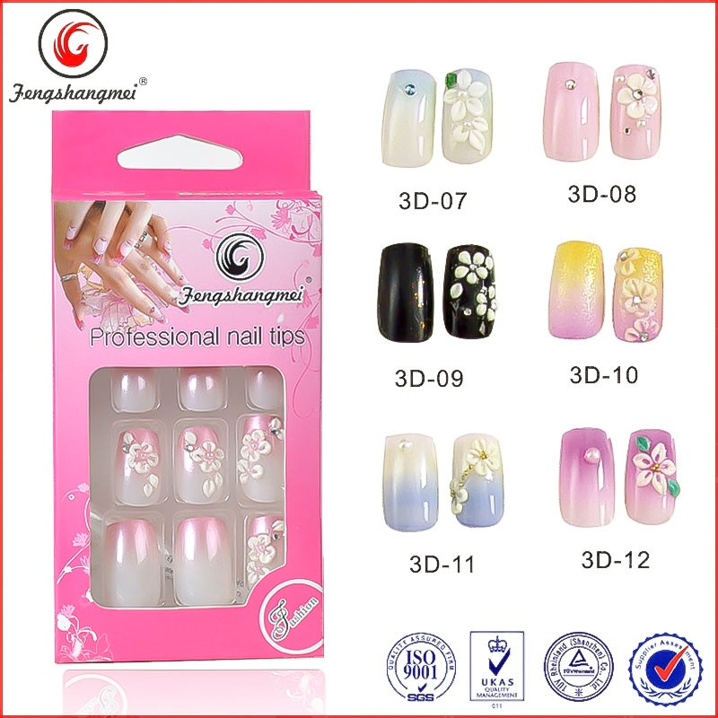 fengshangmei pre glued nails acrylic nail product wholesale large artificial nails