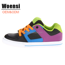 latest OEM manufacture fashion design colorful kids lace up low cut skateboard shoes