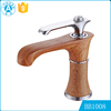 wholesale custom new classic design Wooden finished artistic brass wash basin bathroom faucet