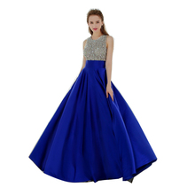 Royal Blue Backless Evening Dress 2017 Crystal Sequins Top Vintage Robe De Soiree Prom Dresses
