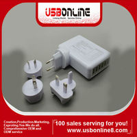 4 PORT USB AC UNIVERSAL POWER TRAVEL CHARGER ADAPTER for IPHONE IPOD AU/US/UK/EU white