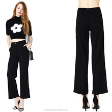 2016 New fashion cuffed hem pleat details black elephant lady pants