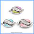 Micro Pave Zirconia Enameled Sterling Silver Box Clasps Hooks Jewelry Findings Connector For DIY Pearl Jewelry SC-BC219