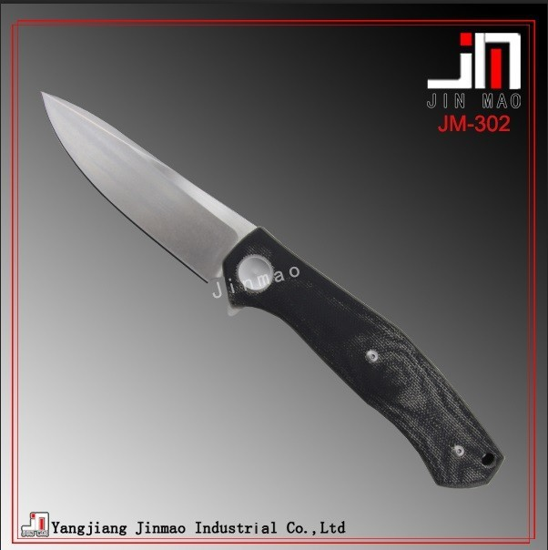 High Qiality 7Cr17 Steel Blade Micarta Handle Flipper Knife