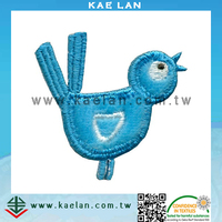 Lovely velvet bird embroidery, wholesale kids embroidery patch