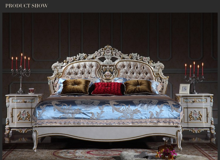 luxury wooden bedroom furniture - solid wood baroque leaf gilding bed