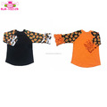 Icing Ruffle Raglan Shirt 3/4 Sleeves Orange Black Pumpkin Printing Holiday Boutique Top Halloween Raglan Shirt
