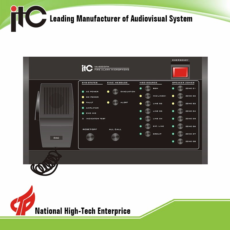 ITC voice evacuation manager for public address,8 zone voice alarm amplifier,digital voice alarm system