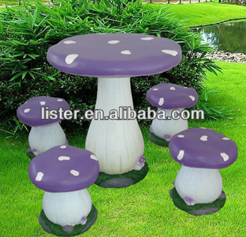 Newest Garden Mushroom Table and Chair for Garden Decoration