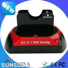USB 2.0 to 2.5 3.5 SATA Double HDD Docking Station with OTB 2 bay HDD case external hard drive enclosure