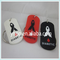 MEDICAL ID DIABETIC silicone Dog Tag Key Chain Ring 3 Colours