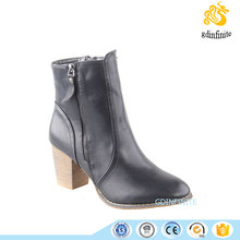 2016 Woman Fashion Double Zipper Chunky Wood High Heel Pointed Toe Boot